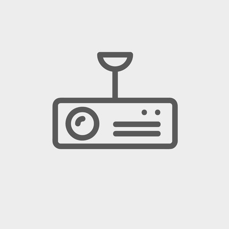 power projection: Vintage radio with analog dials and antenna icon thin line for web and mobile, modern minimalistic flat design. Vector dark grey icon on light grey background.