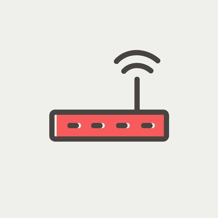 Wifi router modem icon thin line for web and mobile, modern minimalistic flat design. Vector icon with dark grey outline and offset colour on light grey background. 矢量图像
