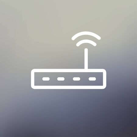 Wifi router modem icon thin line for web and mobile, modern minimalistic flat design. Vector white icon on gradient mesh background. Illustration