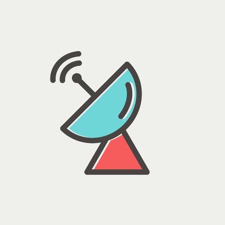 Radar antenne parabolique icône fine ligne pour le web et mobile, design plat moderne et minimaliste. Vector icône avec un contour gris foncé et offset couleur sur fond gris clair. Banque d'images - 40758076
