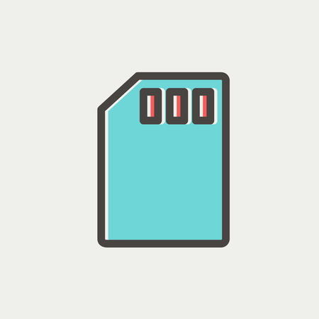Memory card icon thin line for web and mobile, modern minimalistic flat design. Vector icon with dark grey outline and offset colour on light grey background.