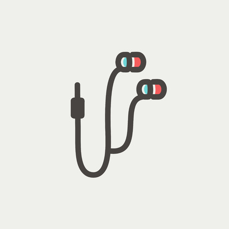 earphone: Earphone icon thin line for web and mobile, modern minimalistic flat design. Vector icon with dark grey outline and offset colour on light grey background.