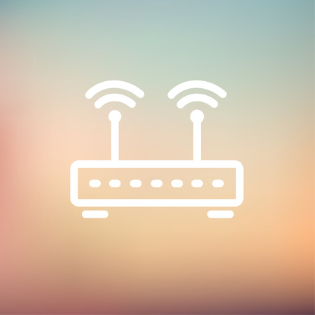 wireless icon: Wireless router icon thin line for web and mobile, modern minimalistic flat design. Vector white icon on gradient mesh background.