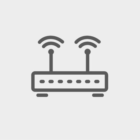 wireless icon: Wireless router icon thin line for web and mobile, modern minimalistic flat design. Vector dark grey icon on light grey background.