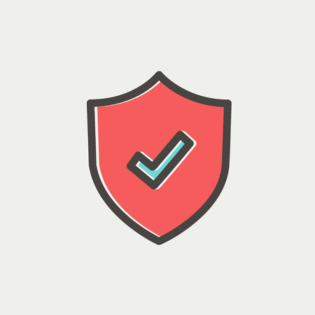 Shield with check mark icon thin line for web and mobile, modern minimalistic flat design. Vector icon with dark grey outline and offset colour on light grey background.