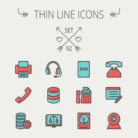 offset printer: Technology thin line icon set for web and mobile. Set includes- headphones, server, printer, fax machine, telephone receiver, SSD, web cam, hard disk. Modern minimalistic flat design. Vector icon with dark grey outline and offset colour on light grey back Illustration