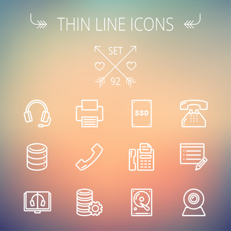 Technology thin line icon set for web and mobile. Set includes - headphones, server, printer, fax machine, telephone receiver, SSD, web cam, hard disk. Modern minimalistic flat design. Vector white icon on gradient  mesh background.