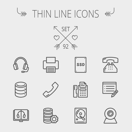 telephone icons: Technology thin line icon set for web and mobile. Set includes - headphones, server, printer, fax machine, telephone receiver, SSD, web cam, hard disk. Modern minimalistic flat design. Vector dark grey icon on light grey background