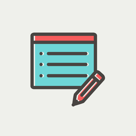 memo pad: Note pad and pencil icon thin line for web and mobile, modern minimalistic flat design. Vector icon with dark grey outline and offset colour on light grey background.