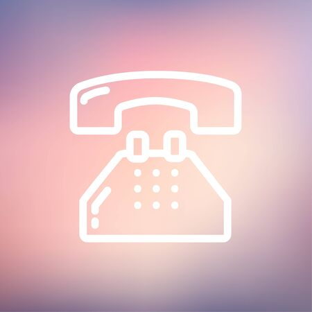 Telephone icon thin line for web and mobile, modern minimalistic flat design. Vector white icon on gradient mesh background.