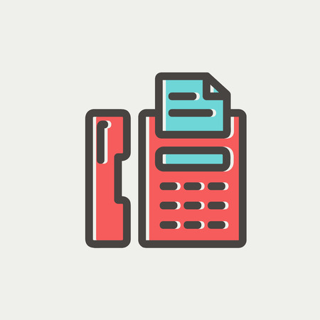 fax machine: Fax machine icon thin line for web and mobile, modern minimalistic flat design. Vector icon with dark grey outline and offset colour on light grey background.