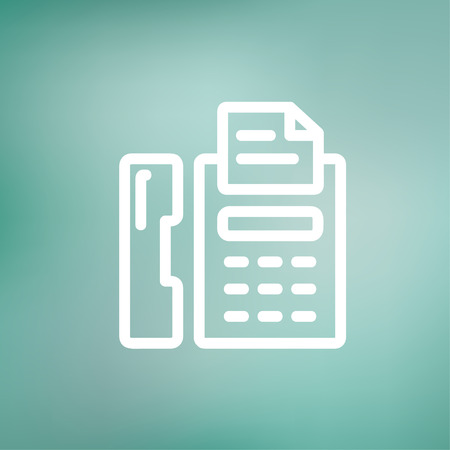 faxger�t: Fax icon d�nne Linie f�r Web und Mobile, modern minimalistisch flache Bauweise. Vektor-Symbol auf wei�em Hintergrund Farbverlauf Netz. Illustration