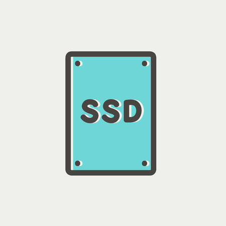 ssd: SSD Sold state drive icon thin line for web and mobile, modern minimalistic flat design. Vector icon with dark grey outline and offset colour on light grey background.