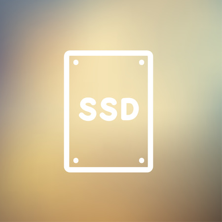 ssd: SSD Solid state drive icon thin line for web and mobile, modern minimalistic flat design. Vector white icon on gradient mesh background.