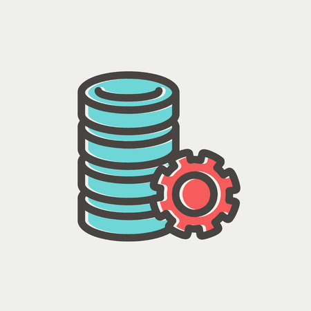Server with gear icon thin line for web and mobile, modern minimalistic flat design. Vector icon with dark grey outline and offset colour on light grey background. Vector