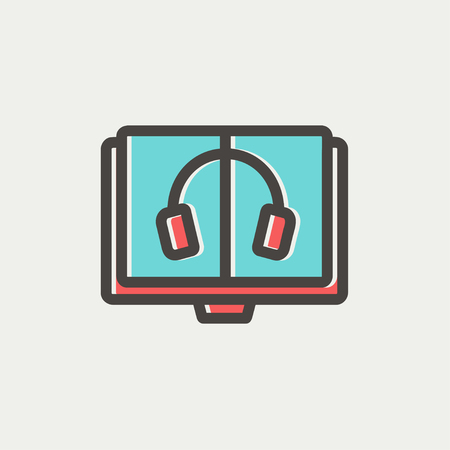electronic book: Headphone in screen monitor icon thin line for web and mobile, modern minimalistic flat design. Vector icon with dark grey outline and offset colour on light grey background. Illustration