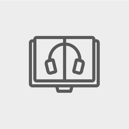 audiobook: Headphone in screen monitor icon thin line for web and mobile, modern minimalistic flat design. Vector dark grey icon on light grey background.
