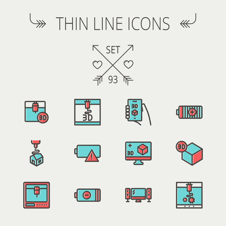 offset printer: Technology thin line icon set for web and mobile. Set includes-3D printer, 3d box, tv with speakers, battery. Modern minimalistic flat design. Vector icon with dark grey outline and offset colour on light grey background.