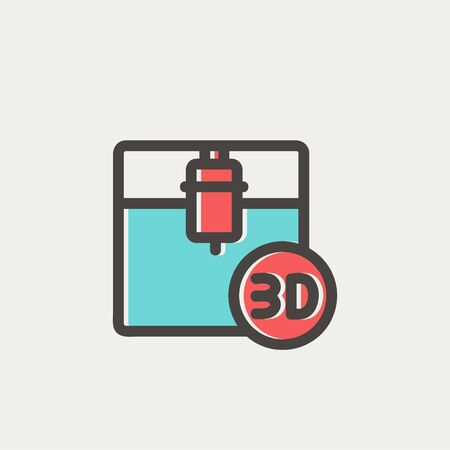 offset printing: 3D printing machine icon thin line for web and mobile, modern minimalistic flat design. Vector icon with dark grey outline and offset colour on light grey background.