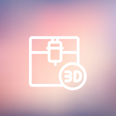 printing machine: 3D printing machine icon thin line for web and mobile, modern minimalistic flat design. Vector white icon on gradient mesh background. Illustration