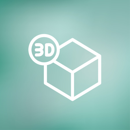 3D box icon thin line for web and mobile, modern minimalistic flat design. Vector white icon on gradient mesh background. Vector