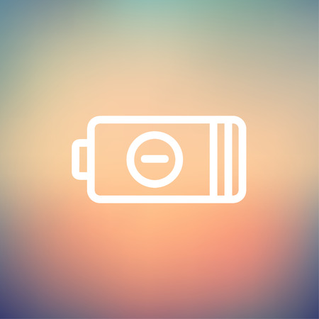 Negative power battery icon thin line for web and mobile, modern minimalistic flat design. Vector white icon on gradient mesh background. Illustration