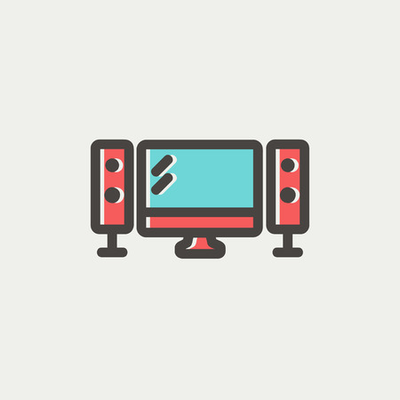 hdtv: Flat screen television icon thin line for web and mobile, modern minimalistic flat design. Vector icon with dark grey outline and offset colour on light grey background. Illustration