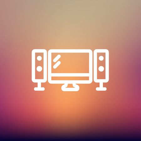 hi fi: Flat screen television with speakers icon thin line for web and mobile, modern minimalistic flat design. Vector white icon on gradient mesh background. Illustration