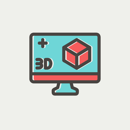 Web とモバイルでモダンなミニマルなフラットなデザインのための 3 D ボックス アイコンの細い線とコンピューター モニター。暗い灰色のアウトライ