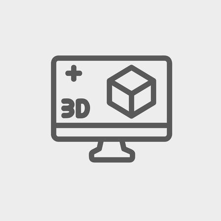 Web とモバイルでモダンなミニマルなフラットなデザインのための 3 D ボックス アイコンの細い線とコンピューター モニター。ベクトルにライトグレ  イラスト・ベクター素材