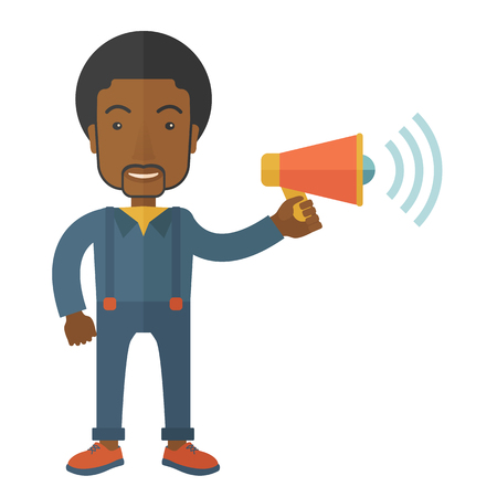 communicate  isolated: A businessman in the field holding a megaphone use to communicate with his employee. A Contemporary style. Vector flat design illustration isolated white background. Square layout