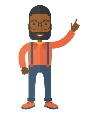 hombres negros: Una cifra de negocios levanta el brazo en gesto de �xito. Un estilo contempor�neo. Aislado Vector dise�o plano ilustraci�n de fondo blanco. Dise�o vertical.