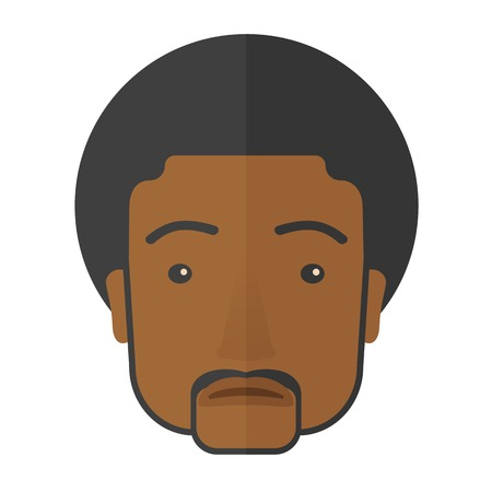 A bored young black man. A Contemporary style. Vector flat design illustration isolated white background. Square layout.