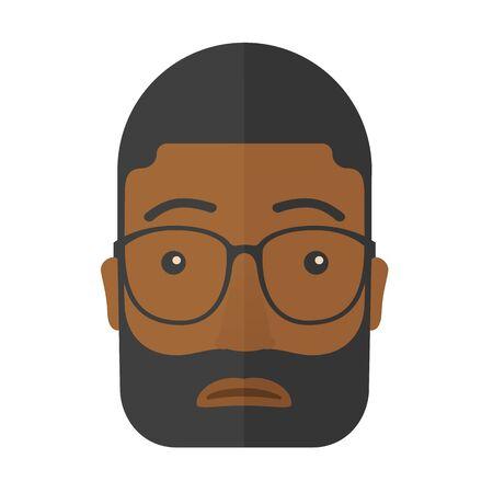 expression visage: Une expression du visage de l'homme africains portant des lunettes noires. Un style contemporain. Vector design plat illustration isol� fond blanc. Plan carr�