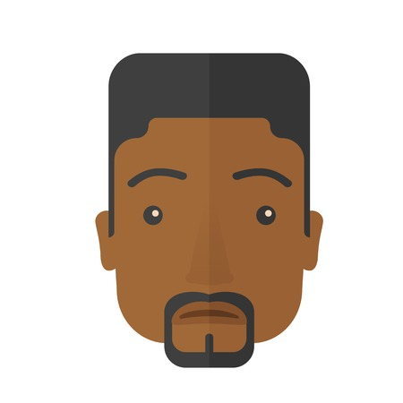 style: A face of a sad but a good looking black guy with his hairstyle. A Contemporary style. Vector flat design illustration isolated white background. Square layout