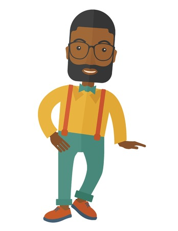 vertica: A Portrait of confident african american supervisor. A Contemporary style. Vector flat design illustration isolated white background. Vertical layout Illustration