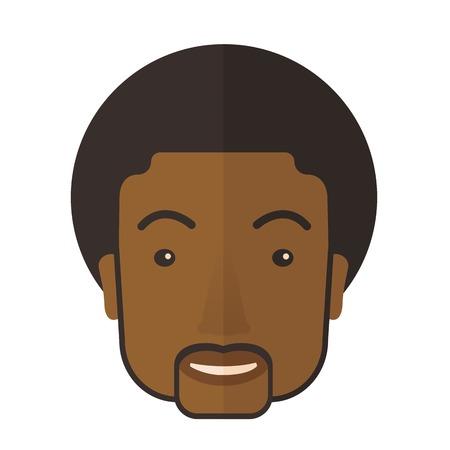 modelos hombres: Un joven negro orgulloso feliz. Un estilo contemporáneo. Aislado Vector diseño plano ilustración de fondo blanco. Diseño Square