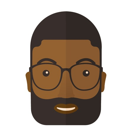 cabello negro: Un joven cara vistiendo americano anteojos profesionales afro. Un estilo contempor�neo. Aislado Vector dise�o plano ilustraci�n de fondo blanco. Dise�o Square Vectores