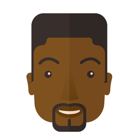 good looking: A face of a happy and good looking black guy with his hairstyle. A Contemporary style. Vector flat design illustration isolated white background. Square layout