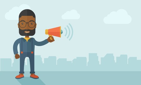 A businessman in the field holding a megaphone use to communicate with his employee. A contemporary style with pastel palette soft blue tinted background with desaturated clouds. Vector flat design illustration. Horizontal layout. Illustration