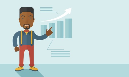 side viewing: A black guy businessman viewing the company sales that grows. Business growth concept. A contemporary style with pastel palette soft blue tinted background. Vector flat design illustration. Horizontal layout with text space in right side.