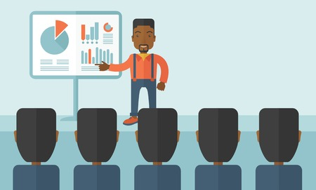 newcomer: A black guy marketing officer show his business plan to his team. Teamwork concept. A contemporary style with pastel palette soft blue tinted background. Vector flat design illustration. Horizonatl layout with text space on upper right side.