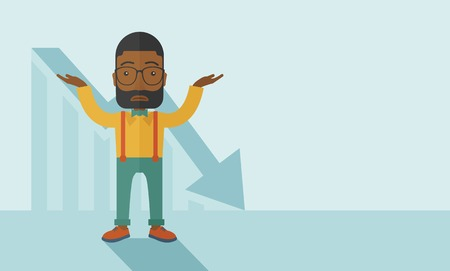 A sad black guy raising his two arms surrendering causing of his failed business. Graph arrow down, shares fall. Unsuccessful business concept. A contemporary style with pastel palette soft blue tinted background. Vector flat design illustration, Horizont