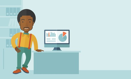guy standing: An african-american guy standing  while presenting a graph in business from his computer inside his office. Leadership concept. A contemporary style with pastel palette soft blue tinted background. Vector flat design illustration. Horizontal layout with t