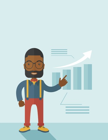 A black guy businessman viewing the company sales that grows. Business growth concept. A contemporary style with pastel palette soft blue tinted background. Vector flat design illustration. Vertical layout with text spcae on top part. Illusztráció