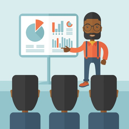 leader: A black guy marketing officer show his business plan to his team. Teamwork concept. A contemporary style with pastel palette soft blue tinted background. Vector flat design illustration. Square layout.