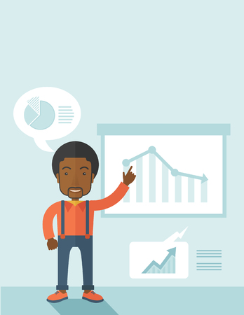 going down: A finance officer with his presentation that shows in a graph the arrow from top going down. A contemporary style with pastel palette soft blue tinted background. Vector flat design illustration. Vertical layout with text space on top part.