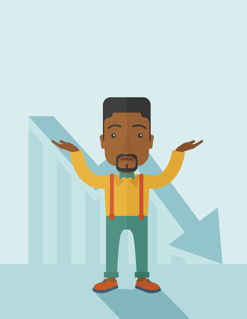 surrendering: A sad black guy raising his two arms surrendering causing of his failed business. Graph arrow down, shares fall. Unsuccessful business concept. A contemporary style with pastel palette soft blue tinted background. Vector flat design illustration, Vertical