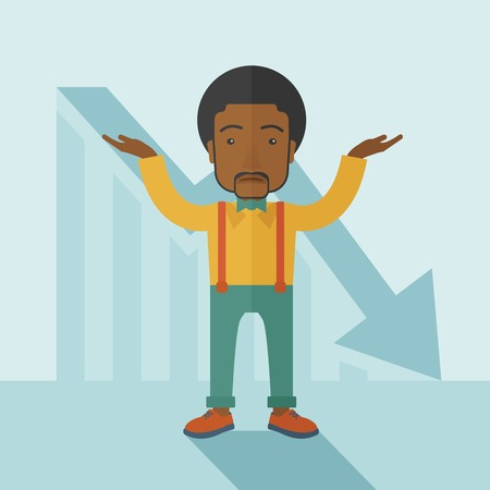 surrendering: A sad black guy raising his two arms surrendering causing of his failed business. Graph arrow down, shares fall. Unsuccessful business concept. A contemporary style with pastel palette soft blue tinted background. Vector flat design illustration. Square l