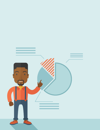 A young black guy represents and share his business financial pie chart. Teamwork concept. A contemporary style with pastel palette soft blue tinted background. Vector flat design illustration. Vertical layout with text space on top part.